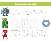 由数字,孩子的教育比赛的颜色 着色页,图画哄骗活动 机器人设计 向量例证