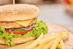 由新鲜蔬菜和鸡做的汉堡 免版税库存照片