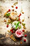 由无核小葡萄干、鹅莓和莓做的莓果圆滑的人与坚果 免版税库存照片