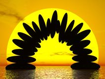 由日落的平衡- 3D回报 库存照片