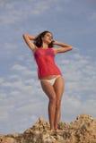 由日落的比基尼泳装妇女 免版税库存照片