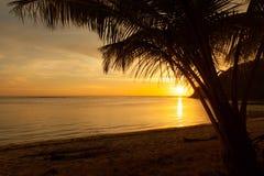 由日落的浪漫海滩 库存图片