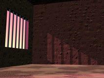 由日落的监狱监狱- 3D回报 库存图片