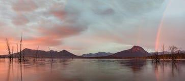 由日落风景外缘,昆士兰,澳大利亚的槽枥 免版税库存照片