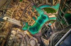 由日落,迪拜,阿联酋的迪拜街市视图 免版税图库摄影