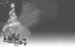 由星和礼物做的圣诞树(灰色背景梯度) 免版税库存照片