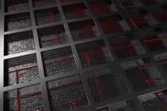 由有发光的线和元素的掠过的金属花格做的未来派技术或工业背景 库存照片