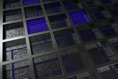 由有发光的线和元素的掠过的金属花格做的未来派技术或工业背景 图库摄影