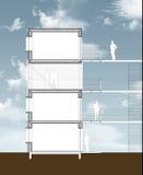 由木头和我做的横断面公寓buiding 向量例证