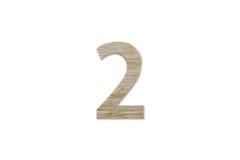 由木头做的第2字母表被隔绝在白色背景 免版税图库摄影