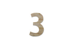 由木头做的第3字母表被隔绝在白色背景 免版税库存图片