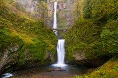 由本雄桥梁的马特诺玛瀑布在俄勒冈春季 免版税库存图片