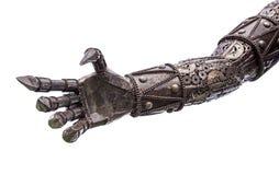 由机械棘轮做的金属网络的手或机器人 免版税库存照片