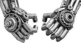 由机械棘轮螺栓和坚果做的金属网络的手或机器人 免版税图库摄影