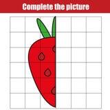 由栅格复制 完成图片儿童教育比赛,上色页 哄骗活动板料用草莓 库存例证