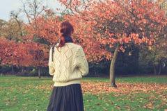 由树的妇女在秋天 免版税库存图片