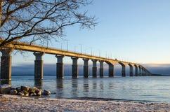 由桥梁的冬天海滩 免版税图库摄影
