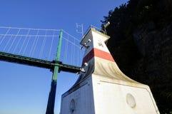 由桥梁的灯塔 免版税图库摄影