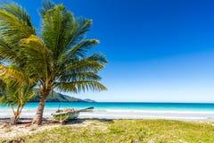 由棕榈树的小船在其中一个最美丽的热带海滩在加勒比, Playa林孔 免版税库存图片