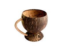 由椰子壳做的杯 免版税库存图片