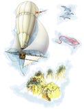 由气球旅行到远的世界 库存照片