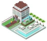 由水池的旅游旅馆和太阳懒人 图库摄影