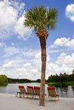 由水的椅子 免版税图库摄影