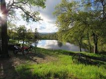 由池塘的土自行车 免版税库存图片