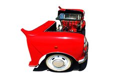 由汽车被设置做的红色沙发在白色背景 免版税库存图片