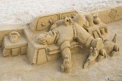 由沙子做的图在Barceloneta海滩 库存图片