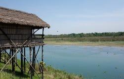 由河的竹小屋在尼泊尔 库存图片