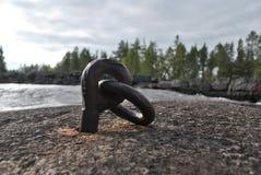 由河的铁圆环 免版税库存图片