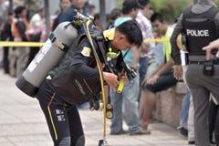 由河 Samut prekan市政厅-萨穆特Prakan区域- T 免版税库存照片