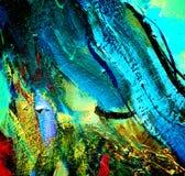 由油的抽象绘画在帆布,例证 向量例证