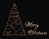 由泡影/圈子/圆环做的金黄xmas树与标签圣诞快乐 库存图片