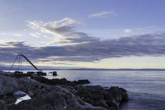 由海在黎明,力耶卡,克罗地亚 库存图片