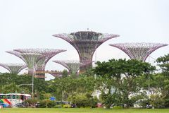 由海湾新加坡,新加坡, 2017年12月15日的庭院 免版税库存图片