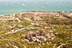 由海湾的庭院,新加坡,鸟瞰图 免版税库存照片