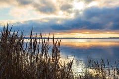由海的冬天日落 免版税库存照片