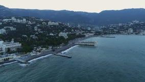 由海的城市小山背景的  影视素材