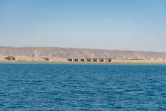 由海的未完成的房子 新的旅馆手段未完成的大厦在埃及 水平的彩色照相 库存图片