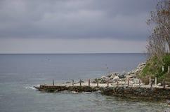 由海的码头 免版税库存照片