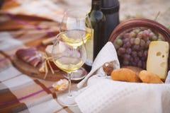 由海的秋天野餐用酒、葡萄、面包和乳酪 免版税库存图片