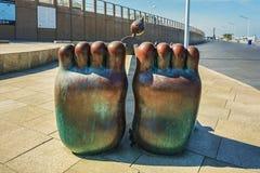 由海的童话雕塑斯海弗宁恩大道的 库存照片