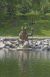 由海盗头子的雕塑有三叉戟的 免版税库存图片