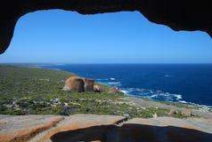 由海,袋鼠海岛的卓越的岩石 免版税库存照片