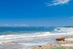 由海,诺森伯兰角的牛顿 库存照片