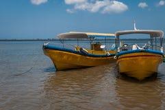 由海滩的两条小船 库存照片
