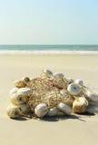 由海滩的捕鱼网 免版税图库摄影