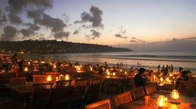 由海滩的晚餐 库存图片